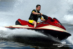 Team Player's driver Patrick Carpentier took some time off to do a Sea-Doo ride on the waters of False Creek in Vancouver