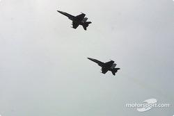 Pre-race ceremonies: jet flyover