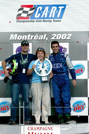 Dario Franchitti celebrating victory with mother Marina and brother Marino