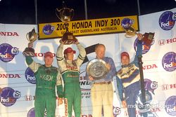 The podium: race winner Mario Dominguez with Patrick Carpentier and Paul Tracy