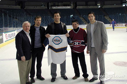 Patrick Carpentier  with MontrÈal Canadiens owner George Gilette (also investor in the CART Grand Prix of Denver), and players Joe Juneau, StÈphane Quintal, and Patrice Brisebois of the MontrÈal Canadiens in Tampa Bay