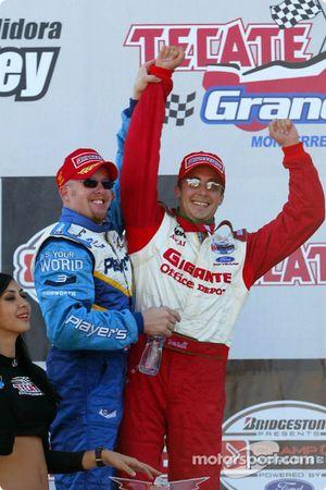 The podium: race winner Paul Tracy and Michel Jourdain Jr.