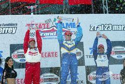 The podium: race winner Paul Tracy, Michel Jourdain Jr. and Alex Tagliani