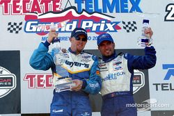 The podium: race winner Paul Tracy and Alex Tagliani