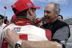 Ford's Dan Davis congratulates Michel Jourdain Jr. after his pole position