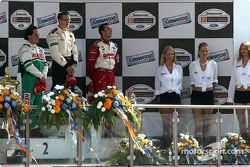 The podium: race winner Sébastien Bourdais with Mario Dominguez and Michel Jourdain Jr.