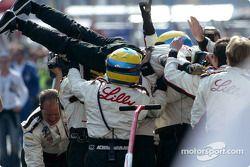 Race winner Sébastien Bourdais goes crowd surfing