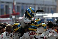 Race winner Sébastien Bourdais celebrates
