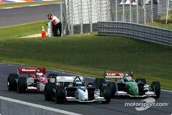 Sébastien Bourdais, Mario Dominguez and Michel Jourdain Jr. fight their way onto pitlane