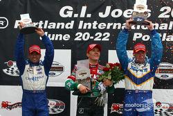 Podium: race winner Adrian Fernandez with Paul Tracy and Alex Tagliani