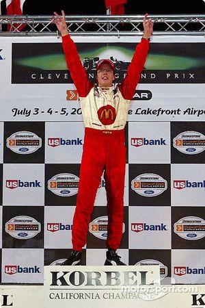 The podium: race winner Sébastien Bourdais