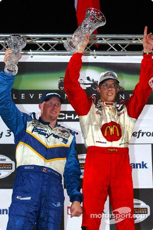 The podium: race winner Sébastien Bourdais with Paul Tracy