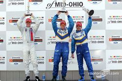The podium: race winner Paul Tracy with Patrick Carpentier and Ryan Hunter-Reay