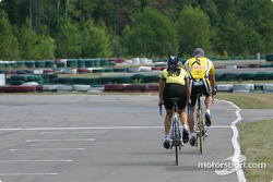 Rocketsports-Tagliani karting event: Alex Tagliani and wife Bronte ride their bike around the track