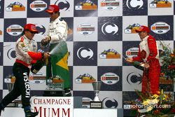 Podium: champagne for Bruno Junqueira, Sébastien Bourdais and Oriol Servia
