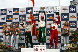 Podium: race winner Bruno Junqueira with Sébastien Bourdais and Oriol Servia