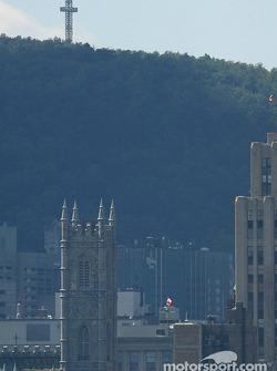 Montréal and the Mont-Royal mountain, as seen from the track on Ile Notre-Dame