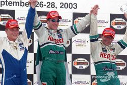 Podium: race winner Mario Dominguez with Roberto Moreno and Mika Salo