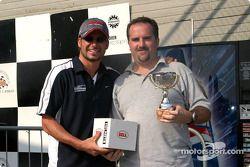 Rocketsports-Tagliani karting event: media race podium, Alex Tagliani and Motorsport.com's Eric Gilb