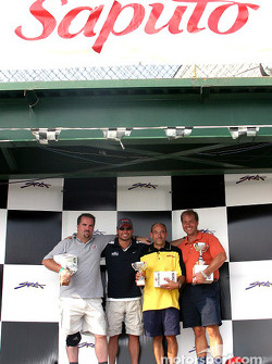 Rocketsports-Tagliani karting event: media race podium, Alex Tagliani and Motorsport.com's Eric Gilbert