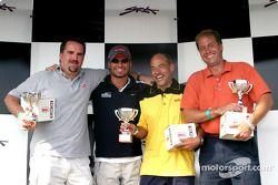 Rocketsports-Tagliani karting event: media race podium, Motorsport.com's Eric Gilbert, Alex Tagliani