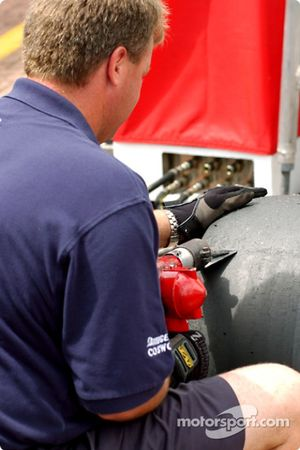 Ensuring the tyres are clean for race day