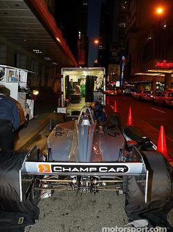 Crew prepare the two-seater Champ Car