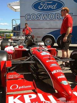Team PKV waits in line with Jimmy Vasser's #12 for tech inspection on Thursday