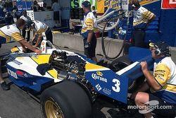 Rodolfo Lavin's crew prepares his car for his qualifying attempt