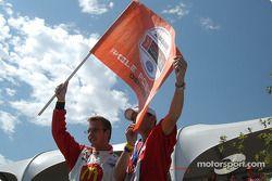 Pole winner Sébastien Bourdais celebrates