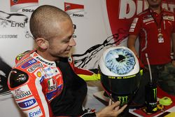 Valentino Rossi shows off his new helmet