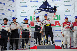 LMP1 podium: race winner Anthony Davidson and Sébastien Bourdais, second place Franck Montagny, Stéphane Sarrazin, third place Marcel Fässler, Timo Bernhard