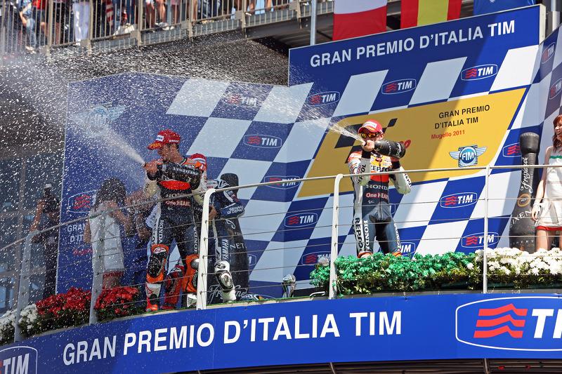 Podio: 1º Jorge Lorenzo, 2º Andrea Dovizioso, 3º Casey Stoner,