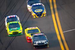 Regan Smith, Furniture Row Racing Chevrolet leads Kurt Busch, Penske Racing Dodge