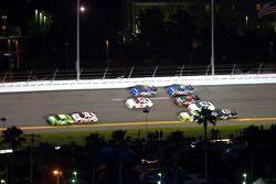 Kyle Busch, Joe Gibbs Racing Toyota leads Joey Logano, Joe Gibbs Racing Toyota