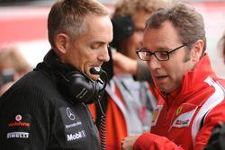 Martin Whitmarsh, Team McLaren and Stefano Domenicali, Scuderia Ferrari Sporting Director talking du