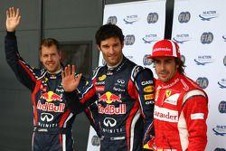 Polesitter Mark Webber, Red Bull Racing, Sebastian Vettel, Red Bull Racing, Fernando Alonso, Scuderia Ferrari