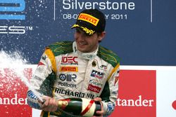 Podium: race winner Jules Bianchi, Lotus ART