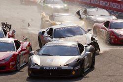 Start: #454 Ferrari of Ft. Lauderdale Ferrari F430 Challenge: Rob Metka crash