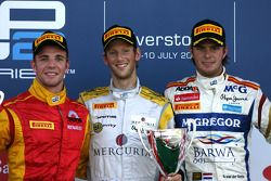 Podium: race winner Romain Grosjean, Dams, second place Dani Clos, Racing Engineering, third place Giedo van der Garde, Brawa Addax Team