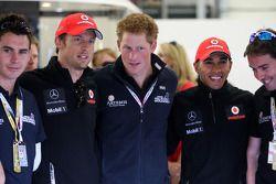 Jenson Button, McLaren Mercedes, Prince Harry, Lewis Hamilton, McLaren Mercedes