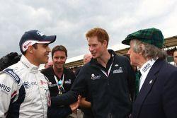 Pastor Maldonado, AT&T Williams with Prince Harry and Sir Jackie Stewart
