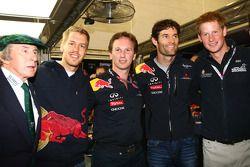 Sir jackie Stewart with Sebastian Vettel, Red Bull Racing, Christian Horner, Red Bull Racing, Sporting Director, Mark Webber, Red Bull Racing and Prince Harry