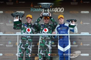 Second place Craig Lowndes, Race winner Jamie Whincup, Third place Mark Winterbottom