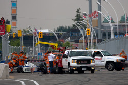 Safety crew at work after the crash of Bruno Andrade, Bryan Herta Autosport and Daniel Herrington, Sam Schmidt Motorsports