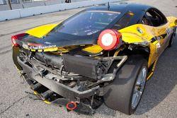 Damaged car of #009 Ferrari of San Francisco Ferrari 458 Challenge: Kevin Marshall