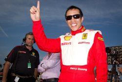Race winner #77 Ferrari of Silicon Valley Ferrari 458 Challenge: Harry Cheung