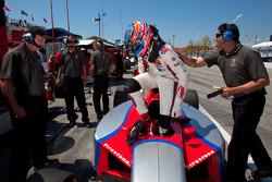 Temporary pole winner Stefan Wilson, Andretti Autosport celebrates