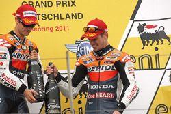 Podio: ganador de la carrera Dani Pedrosa, Repsol Honda team, tercer lugar Casey Stoner, del equipo