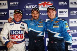 Race 2, Press conference, Franz Engstler, BMW 320 TC, Liqui Moly Team Engstler 3rd position, Yvan Muller, Chevrolet Cruz 1.6T, Chevrolet race winner and Robert Huff, Chevrolet Cruze 1.6T, Chevrolet 2nd position